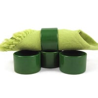 FINAL CLEARANCE Ring Ring - Set of 4 Vintage 1970s Ceramic Napkin Rings, Beautiful Deep Moss Green, Mid Century Modern Table Setting