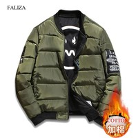 Trendy FALIZA Winter Thick Bomber Jacket Men Pilot with Patches Green Both Side Wear Pilot Flight Army Military Jacket Outwear Coat JKH AT_94_13