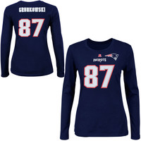 Womens New England Patriots Rob Gronkowski Majestic Navy Blue Fair Catch V Name and Number Long Sleeve T-Shirt