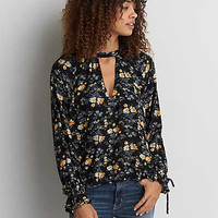 AEO Hi-Neck Button Back Shirt, Black