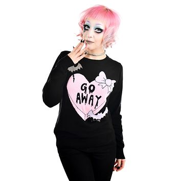Too Fast Pastel Goth Creepy Love Emo Candy Heart Go Away Black Knit Sweater
