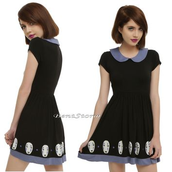Licensed cool Studio Ghibli Spirited Away No-Face Fit n Flare Skater Cosplay Costume Dress JRS
