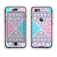 The Squared Pink & Blue Textile Patterns Apple iPhone 6 LifeProof Nuud Case Skin Set