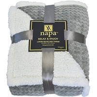 "Bedsure Sherpa Blanket Throw Blankets Bed Blankets, Soft Cozy and Warm(Reversible/Textured/Fuzzy), 50"" x 60"" Lt Grey"