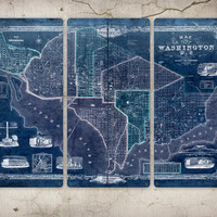 Old Map of Washington DC on METAL triptych 34 by ArtHouseGraffiti