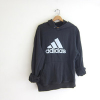 Vintage ADIDAS sweatshirt. Hooded sports sweatshirt. Faded black cotton boyfriend hoodie. Sporty pullover