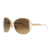 Metal Sunglasses with Chain, Gold/White - Gucci - Gold