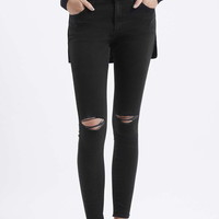 MOTO Washed Black Ripped Leigh Jeans - Topshop
