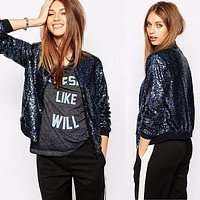 New Fashion Women Casual Slim Vintage Sequin Jacket Coat Outwear Bomber Jacket