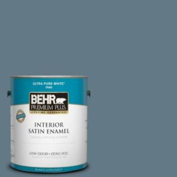 BEHR Premium Plus, 1-gal. #540F-5 Smokey Blue Zero VOC Satin Enamel Interior Paint, 730001 at The Home Depot - Mobile