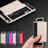 I6 7 Plus Bag Armor Slide Credit Card Slot Case For iPhone 7 5 5C 5S SE 6 Plus 6S Plus 7 Plus Wallet Shockproof Hard Cover Shell