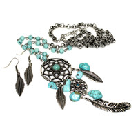 dreamcatcher beads necklace and earring set