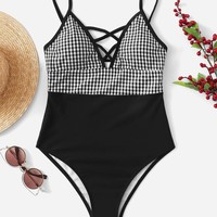 Gingham Criss Cross One Piece Swimwear