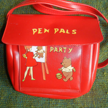 Sale! Vintage Red Childs Pen Pals Coloring Party Pooh Bear Purse