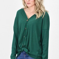 Must Have Solid Thermal Button +Tie Front L/S {H. Green}