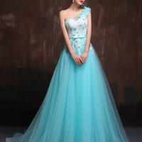 Whimsical Grecian One Shoulder Turquoise Tulle Formal Evening Prom Dress X005