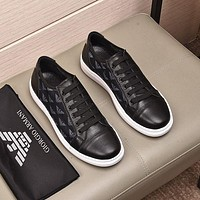 Armani Men Fashion Boots fashionable Casual leather Breathable Sneakers Running Shoes-8