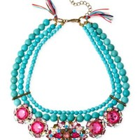 Betsey Johnson Gold-Tone Mixed Faceted Bead Semiprecious Turquoise Necklace | macys.com