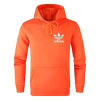 Adidas Autumn And Winter New Fashion Bust Letter Leaf Print Women Men Leisure Hooded Long Sleeve Sweater Orange