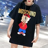Moschino new fashion letter pig print couple top t-shirt Black