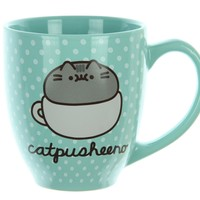Pusheen Cat Mug - 18 Oz Mint Polka Dot Catpusheeno Coffee Mug