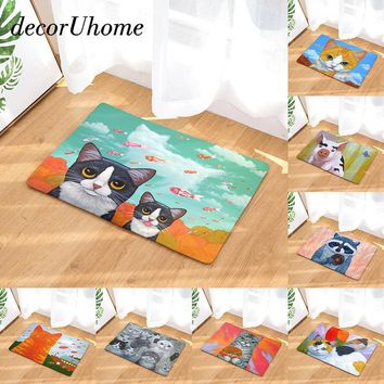 Autumn Fall welcome door mat doormat decorUhome Anti-Slip Waterproof  Cute Cat Eat Food Fish Pig Carpets Bedroom Rugs Decorative Stair Mats Home Decor Crafts AT_76_7