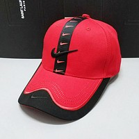 Nike Summer New Women Men Embroidery Sports Cap Baseball Cap Hat Red