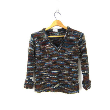 70s Nubby Sweater Dark Brown Blue Marled Knit Sweater Woven Cropped VNeck Sweater 1970s Fall Boho Sweater Vintage Womens Medium