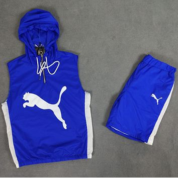 PUMA 2018 summer new hooded cuffed sunscreen shorts two-piece suit F0483-1 Blue