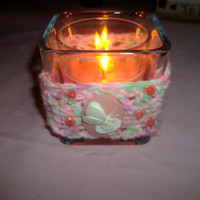 Crochet Candle Wrap Hugger with 3D Pink and White Butterfly and Flower Cameo Cabochon and Coral Roses Handmade Home Decor Use for Upcycle