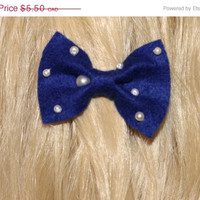 Royal Blue Felt Hair Ribbon Bow with White Pearls. Alligator Clip Attachment