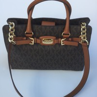 NWT Michael Kors MK Large Brown Hamilton PVC EW Tote Bag MK Signature