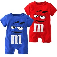 Summer Baby Boys Girls Clothes Newborn Blue and Red Short Sleeve Cartoon Printing Infant Jumpsuit Baby Clothing