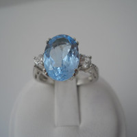 Sterling Silver 925 Blue White Topaz Ring Size 8.5 NK 925