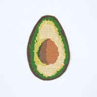 Avocado Patch / Embroidered / Badge / Guacamole / Green / Yellow / Life-Size / Cross-stitch