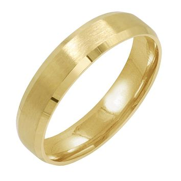 Men's 10K Yellow Gold 5mm Comfort Fit Beveled Edge Satin Finish Wedding Band  (Available Ring Sizes 8-12 1/2)