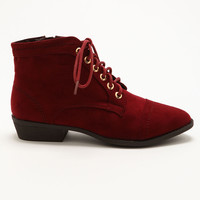 Burgundy Pointy Toe Booties