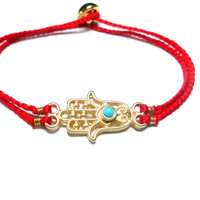 Gold plated Hamsa hand of fatima braided Friendship Bracelets - turquoise soft cotton string lucky red evil eye Christmas gift