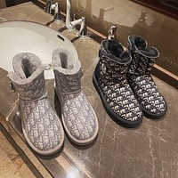 UGG Dior new snow boots sheepskin wool one-piece rhinestone buckle thick-soled short tube presbyopia boots
