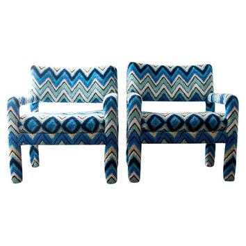 Pre-owned Missoni Covered Parsons Arm Chairs - A Pair