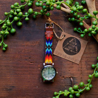 Free shipping US,Native American inspired hand-beaded watch.brown,leather,handmade,hippie,boho,hipster
