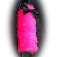 Hot barbie pink car seatbelt pads faux fur fluffy fuzzy furry car cover 1 pair & black satin bow covers girly girl cute pretty bright love