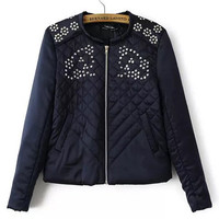 Black Floral Sequin Plaid Accent Padded Jacket