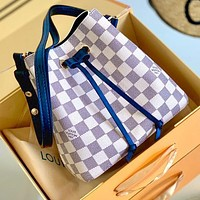 Onewel LV NEONOE white checkerboard bucket Louis Vuitton drawstring bucket bag White tartan Navy blue Shoulder strap