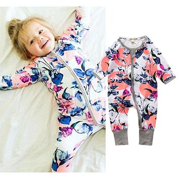 Newborn Toddler Infant Baby Girls Floral Clothing Zipper Cute Romper Jumpsuit Long Sleeve Outfit Clothes