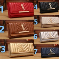 YSL Yves Saint laurent Womens Wallet Faux Leather RFID Blocking Purse Credit Card Clutch 303