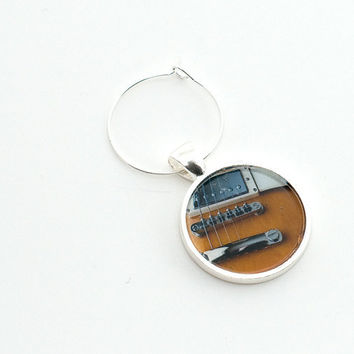 Electric Guitar Wine Charm Unique Father's Day Gifts for Him Bronze Brown Silver Gifts under 10