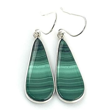 Malachite Sterling Silver Drop Earrings