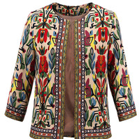 Multicolor Floral Embroidery Tribal Pattern Long Sleeve Coat