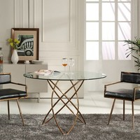 Modrest Rosario Modern Round Rose Gold Dining Table
